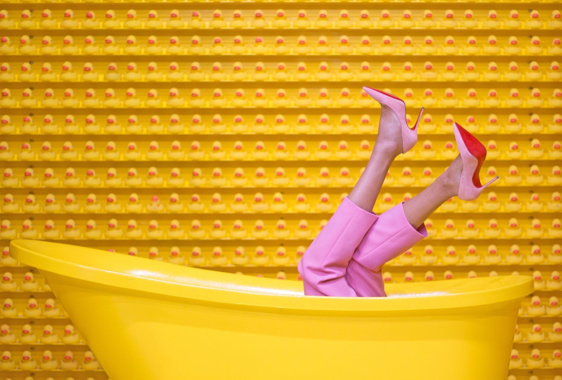 yellow steel bathtub