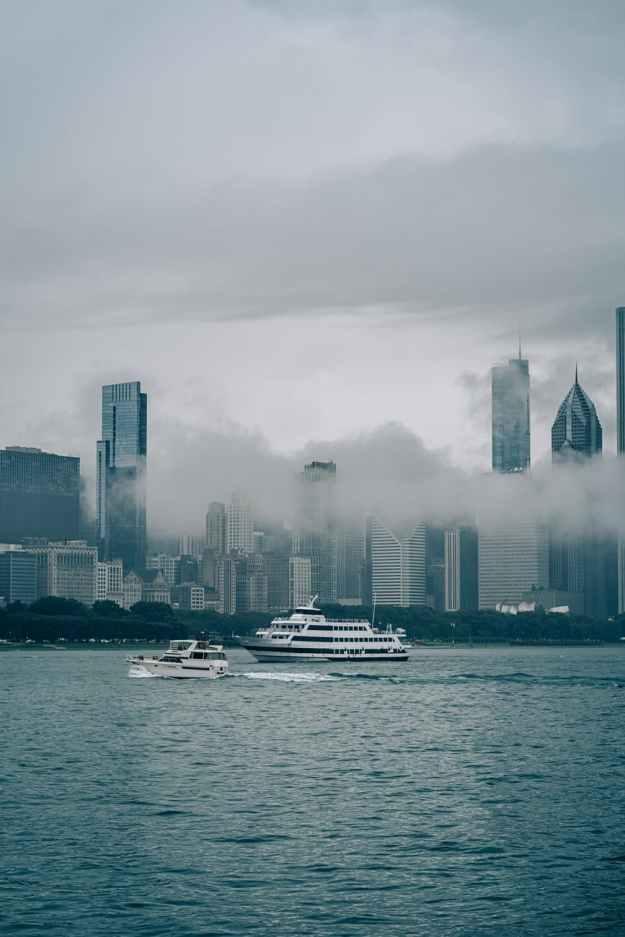 wnite ferry ship