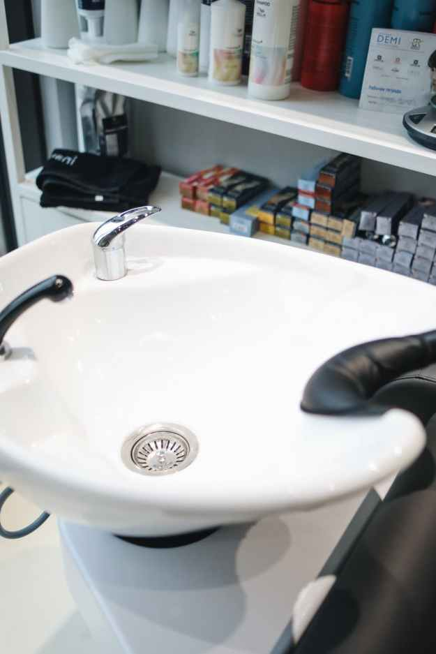 ceramic sink in hair salon